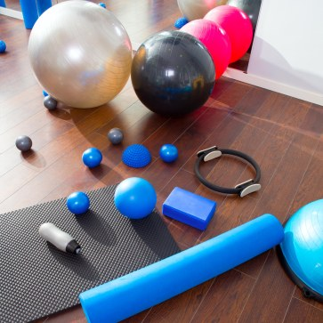 Aerobic Pilates stuff like mat balls roller magic ring